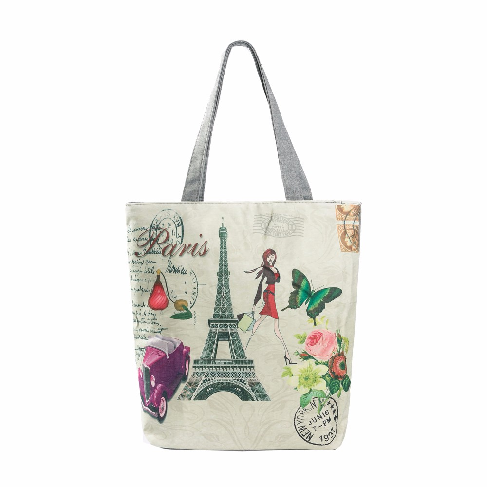 Fashion Female Canvas Beach Bag Cartoon Paris Tower Tote Casual Women Handbag Daily Use Single