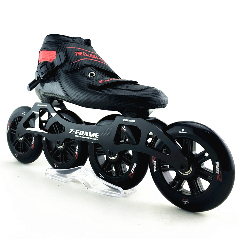RASHA inline speed skates black Color carbon skates inline skates 4*120mm inline wheels men/women patins quad white slit design round neck long sleeves crop top