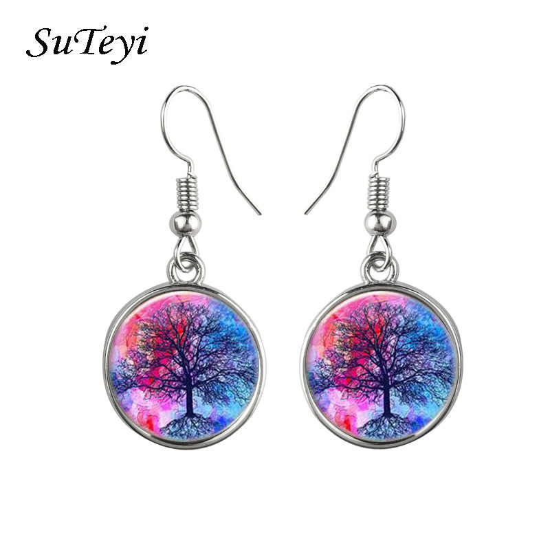 Wholesale Colorful Life Tree Glass Cabochon Hanging Earrings Jewelry For Women Silver Plated Long Drop Statement Earrings Women