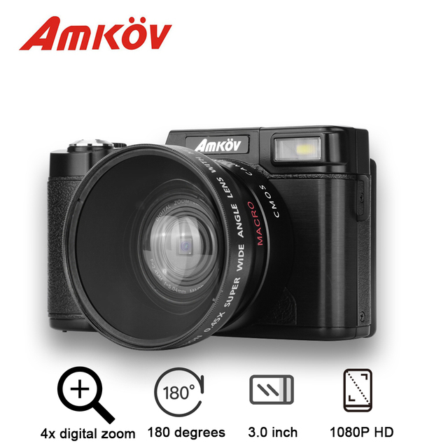 "Original AMKOV CD-R2 Digital Camera Video Camcorder With 3"" 180 Degrees Rotatable TFT Screen/ UV Filter Support LED Flash Light"