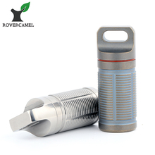 Rover Camel Portable Titanium Pill box Case Waterproof Battery Storage Ultralight Container Ta6110rc