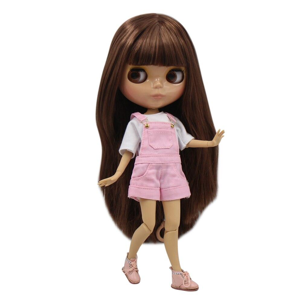 ICY blyth ตุ๊กตา tan ผิว joint body glossy สีน้ำตาลตรงผม DIY sd ของขวัญของเล่น-ใน ตุ๊กตา จาก ของเล่นและงานอดิเรก บน   1