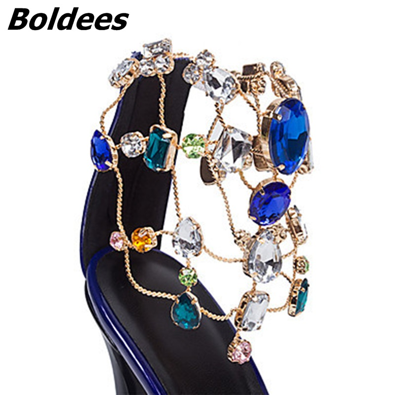 Trendy Designer Sexy Patent Leather Stiletto Heels Shoes Woman Bling Bling Rhinestone Ankle Wraped Dress Sandals Nightclub Shoe - 6