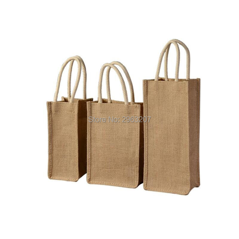 Us 169 28 8 Off 50pcs 13 12 5 27cm Jute Burlap Wine Bottle Bag Champagne Gift Holder With Cotton Corded Handle In Bags Wring Supplies