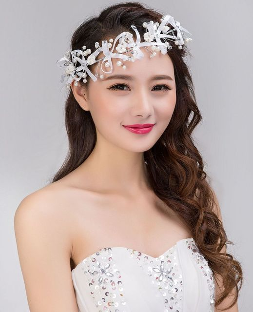 Korean Handmade Ribbon Flower Head Pearl Headdress Short Hair Wedding Accessories Frontlet