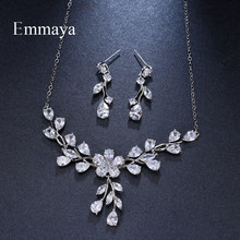 Emmaya Brand Luxury Plant Cubic Zircon Water Drop Pendant Crystal Earrings Necklace Set For Women Popular Bride Jewelry Gift(China)