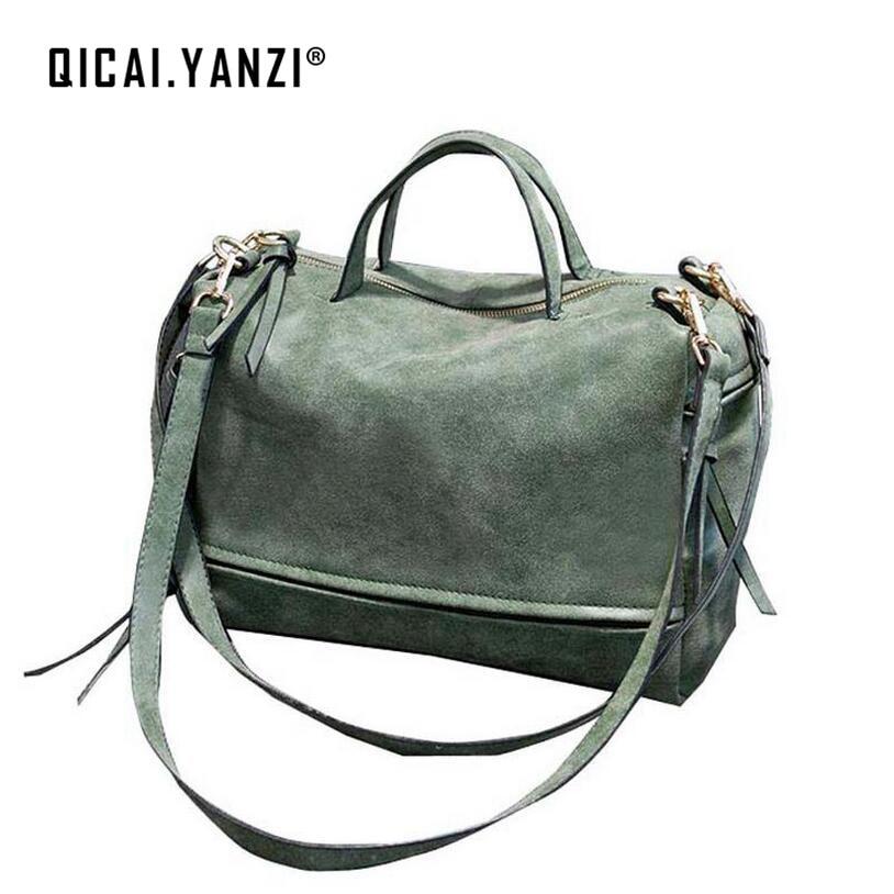 2017 New Women s Fashion Retro Messenger Shoulder Handbag Package Matte Nubuck Leather Bag Large Capacity