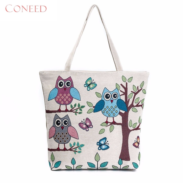 Charming Nice Coneed Best Gift Owl Printed Canvas Tote Casual Beach Bags Women Ping Bag Handbags