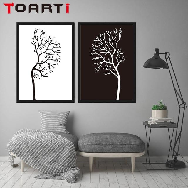 Minimalista nórdico negro blanco Árboles A4 lona del arte retratos ...