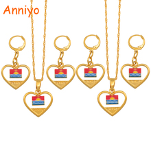 Anniyo Heart Kiribati & Boboto Flag Jewelry set Necklace Earrings for Women Girls Kids Gold Color Ethnic Patriotic Gifts #135806