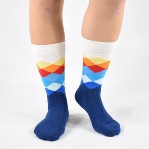 Image 5 - Men Socks New Sale 2019 6 Pair/lot Gift Box Cool Mens Happy Diamond pattern Socks Combed Cotton Novelty Gifts Socks Men