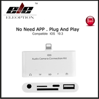 For Lightning Audio Camera Connection Kit 5 in With TF/SD Card Reader 3.5MM AUX Headphone Audio For iPhone 5 6 7 plus For iPad