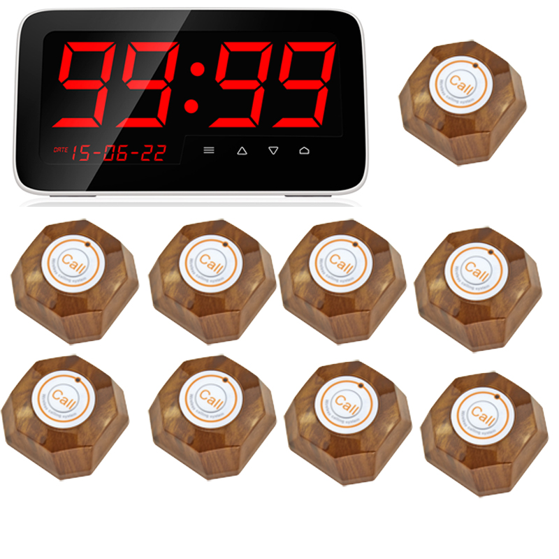 Wireless Calling System Restaurant Serving Wireless Restaurant Remote Waiter Calling Paging System + 9pcs Call Transmitter wireless pager system 433 92mhz wireless restaurant table buzzer with monitor and watch receiver 3 display 42 call button