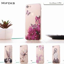 For iPhone 7 Case Painted TPU Bling Floral Rhinestone Painted 3D Relief Case For iPhone 7 8 Plus Case Phone Back Cover Capa
