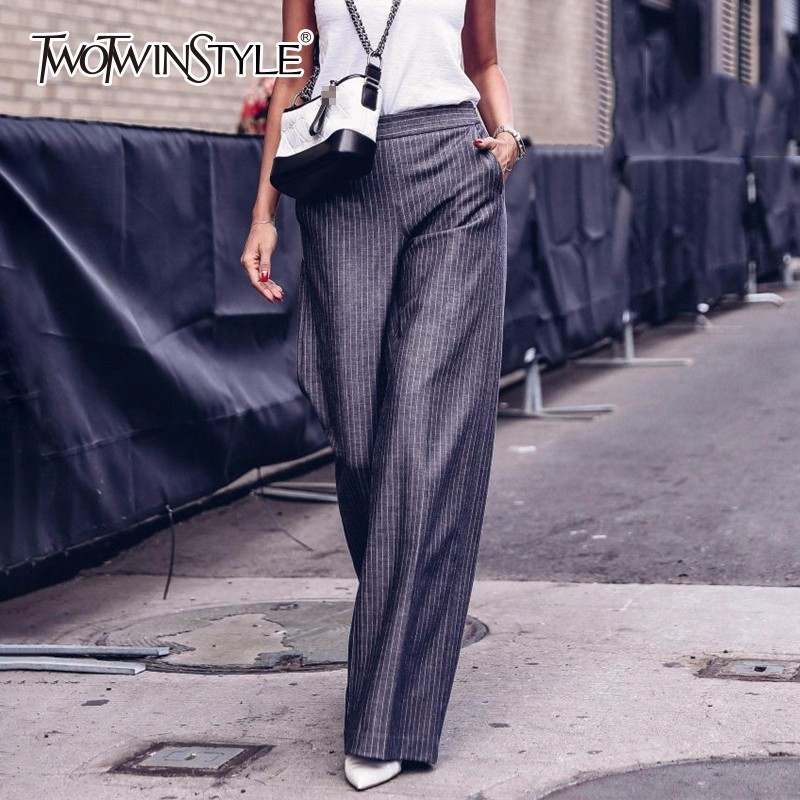 TWOTWINSTYLE Striped   Wide     Leg     Pants   Female High Waist Extra Long Trousers Women Casual Fashion Clothes Large Size 2018 Summer