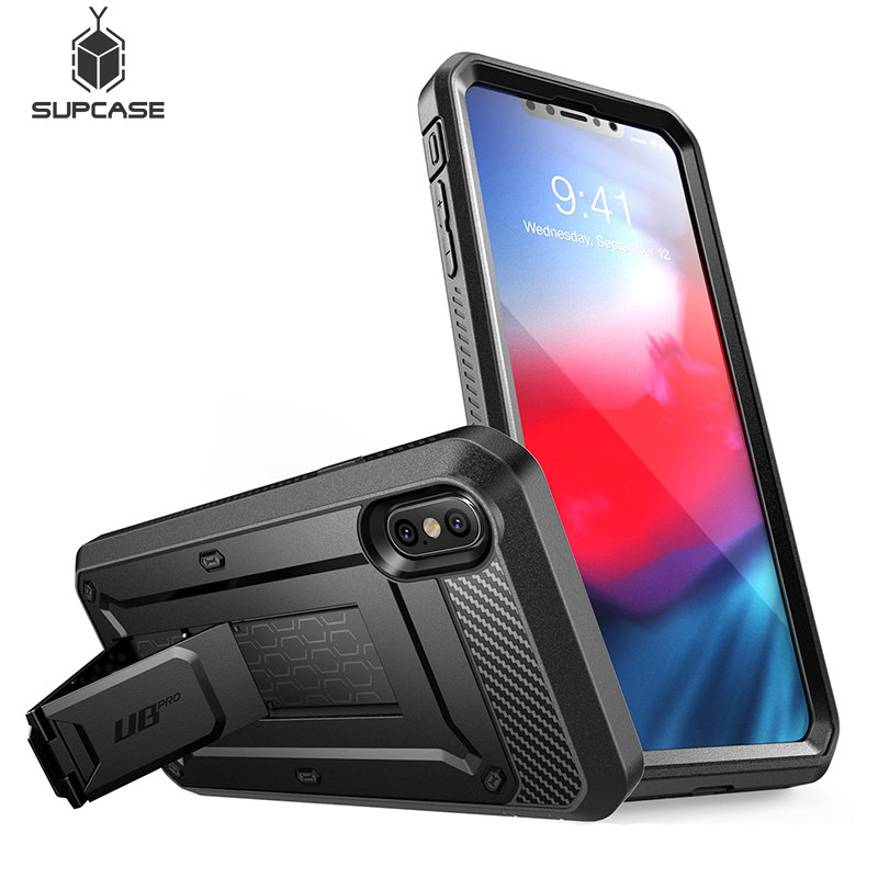Black SUPCASE UB Neo Series Full-Body Protective with Built-in Screen Protector Dual Layer Armor Cover for iPhone/ Xs/ Max/ Case 6.5 Inch 2018 iPhone/ Xs/ Max/ Case