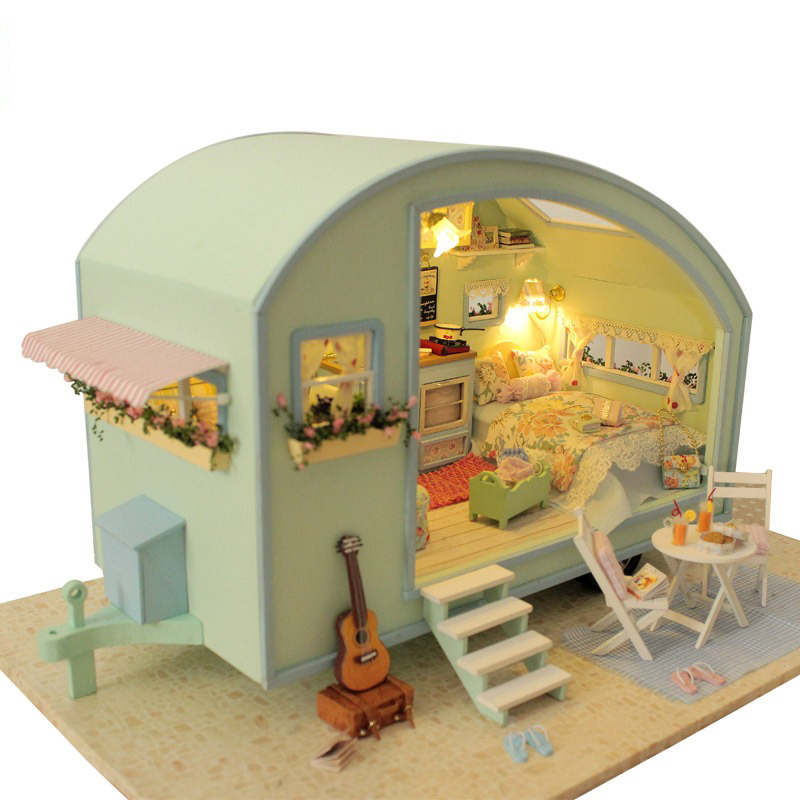 Мебель DIY Кукольный дом wodden Miniatura Кукольные домики Мебель комплект DIY головоломки собрать кукольный домик Игрушечные лошадки для детей пода...