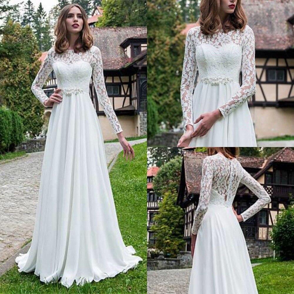 Fantastic Long Lace Sleeve Wedding Dress A-Line Chiffon Beaded Belt Sweep Train Vestido De Noiva 2019  Bridal Gown