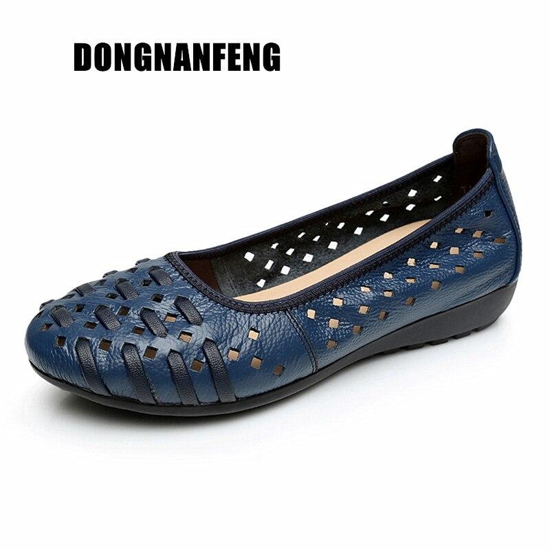 DONGNANFENG Mutter Frauen Schuhe Alten Wohnungen Aushöhlen Kuh Echtes Leder Slip Auf Loafers Casual Vintage 5 Farben 34- 43 HN-1627