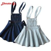 New 2017 Vintage Sweet Preppy Style Womens takedown braces mini Denim Skirt Ladies Girls A line Suspender Skirt S M L