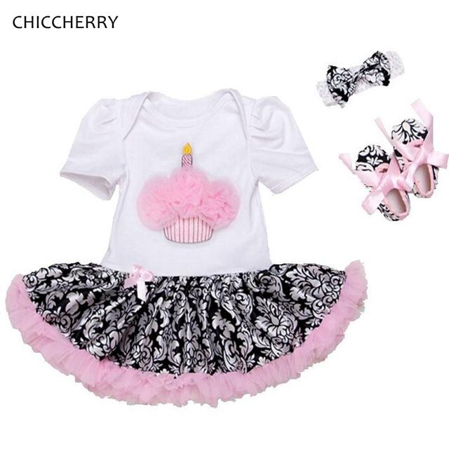 Verão cupcake baby girl dress tutu outfits presente de aniversário infantil set headband & berços sapatos bonito da criança vestidos de rendas romper