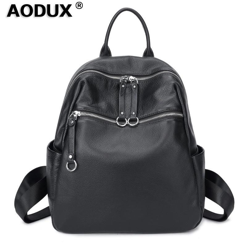 Aodux 100 Soft Natural Calfskin Italian Genuine Leather Shoulder Women Backpack Female Lady Coffee Black Cowhide