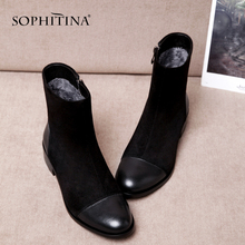 SOPHITINA Fashion Round Toe Ladies Boots Casual Metal Decoration Med Heel Shoes Winter Basic Solid Square Heel Women Boots SO203 msfair round toe square heel women boot fashion metal zipper med heel ankle boots women shoes winter genuine leather boots women
