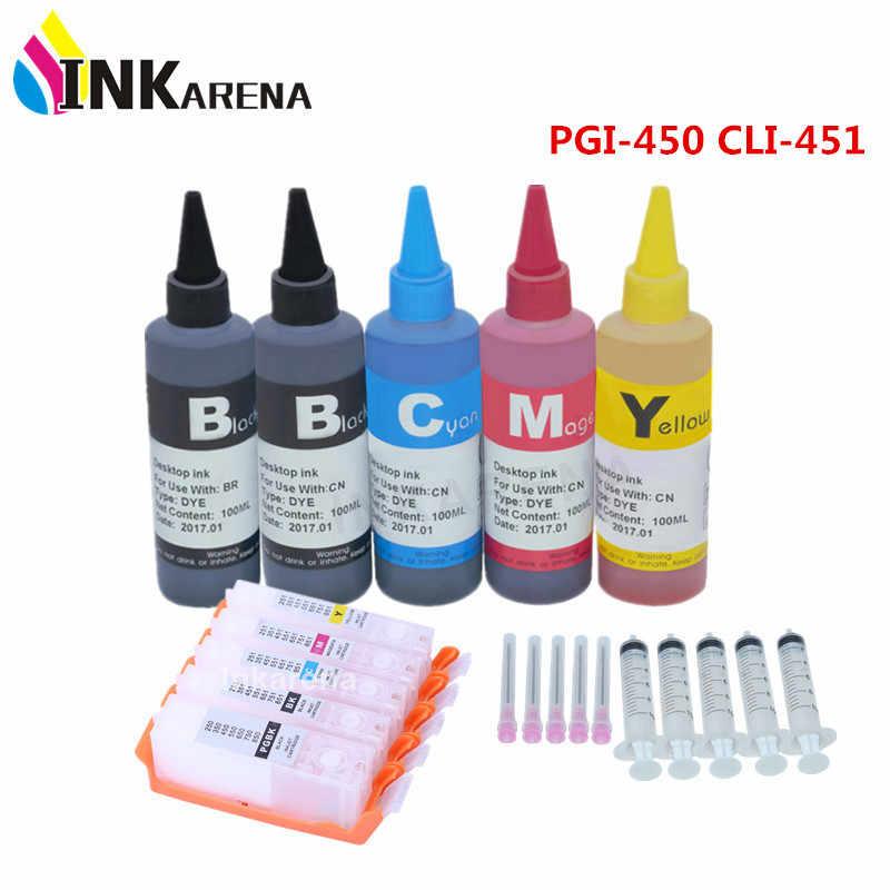 500 ml fles Dye Inkt + PGI-450 CLI-451 Navulbare inkt Voor Canon PIXMA IP7240 MG5440 MG5540 MG6440 MG6640 MG5640 IX6840 Printer