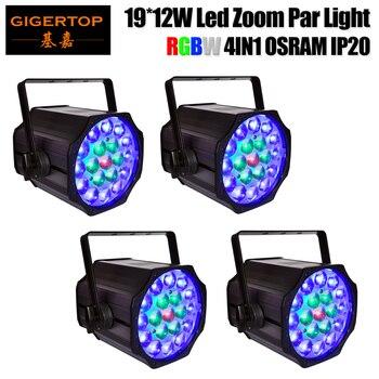 Trasporto Libero 4X230 w RGBW Quad Colore 19x12 w LED Zoom Par Luce Professionale American DJ attrezzature DMX 10-50 Zoom Motorizzato