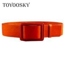 New fashion Women Cowhide Leather Wide Belts Metal Genuine Belt Female Decoration Super Lap for TOYOOSKY