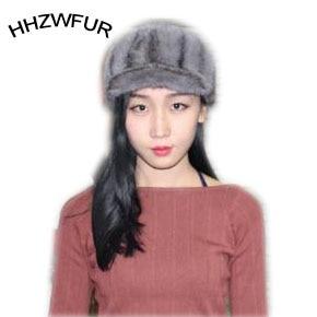 ФОТО HHZWFUR  free shipping fashionable lady real  mink fur hats women cap