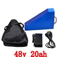48 v 1000 w треугольная батарея 48 v 20ah электрическая велосипедная батарея 48 v 20ah литиевая батарея с 30A BMS и 54,6 V 2A зарядное устройство + сумка
