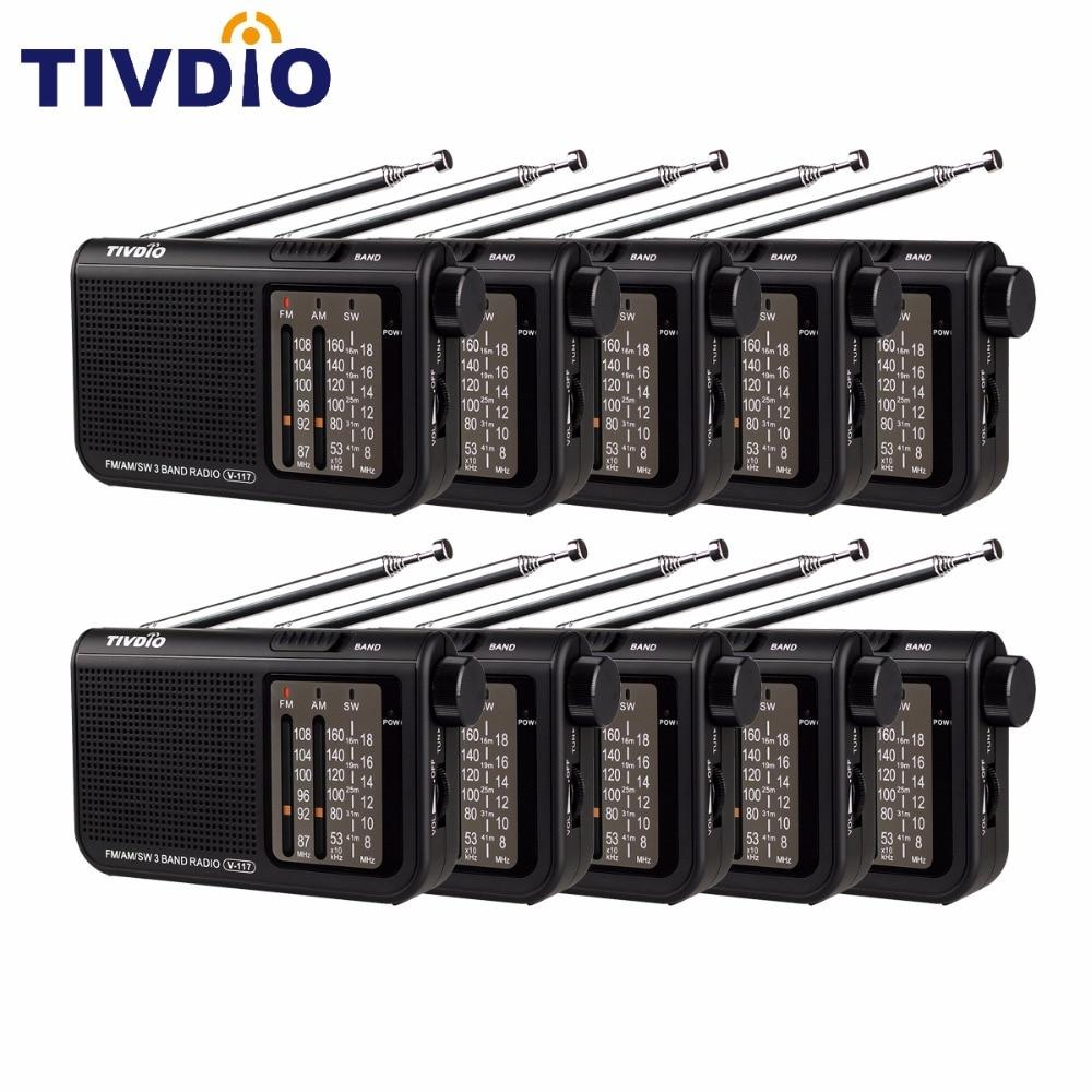 10pcs TIVDIO V-117 3 Band FM / AM / SW Radio Battery Powered Emergency Radio Receiver Multiband Radio Station F9207A sayin sy 320 1 4 screen am fm sw muti band radio