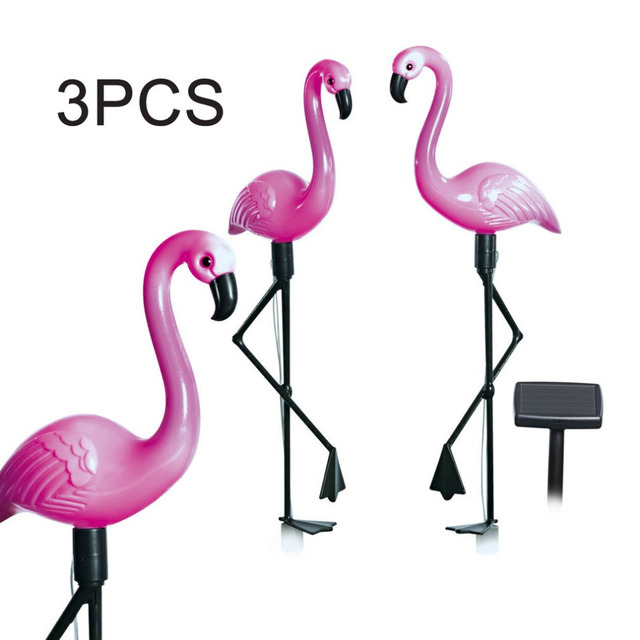 3pcs Led Solar Garden Light Flamingo Lawn Lamp Waterproof Lights Outdoor For Decoration Parties