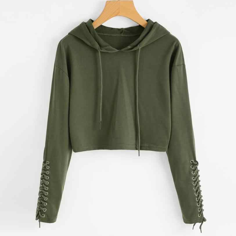 80917094 Sweatshirt women girls Casual All season Daily Army Green Gray crop top  hoodie Long Sleeve clothes