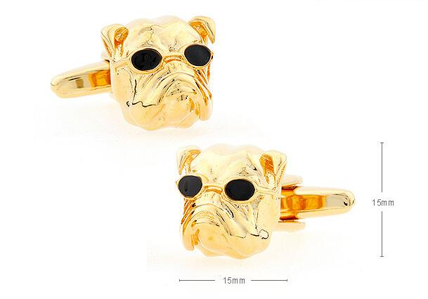10pairs/lot Novelty Bulldog Cuff Links Gold Dog With Glasses Cufflinks Shirt Cuff Button Men's Jewelry Gift Wholesale