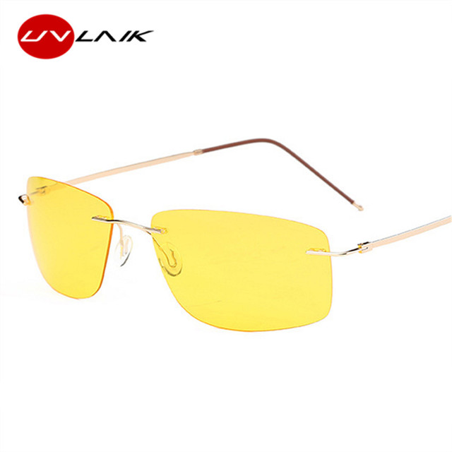 UVLAIK Polarized Sunglasses Men Frameless Titanium Driving Movement Night Vision Goggles Sun Glasses Mirror Vintage Eyeglasses