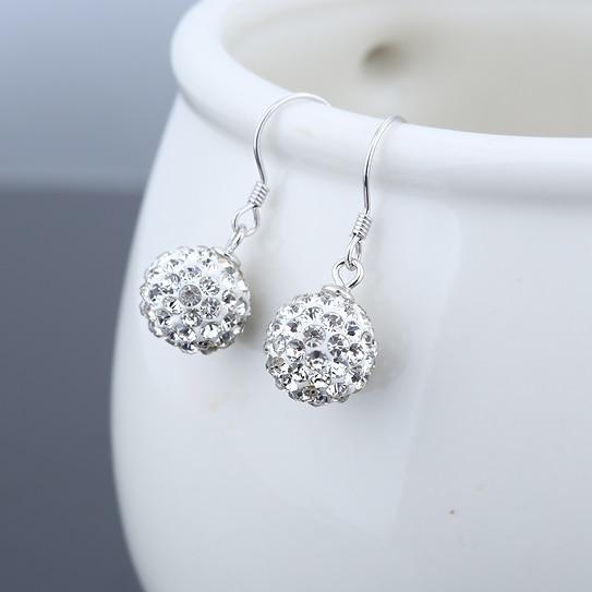 Pure 925 Sterling Silver Woman Jewelery Drop Earrings Shambhala Dangles Ball Eardrop Crystal White Gold Trendy Fashion 25mm 1pc