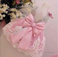 Astilla Bling Lentejuelas Rosa de Encaje Blanco Vestido de Fiesta de Cumpleaños del bebé con el Arco niña de las flores vestidos de boda vestidos de bola