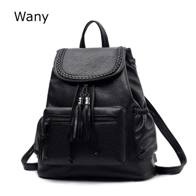 Baru pasang perempuan ransel wanita tas Ransel sekolah siswa gaya preppy pu  kulit jumbai tas 2fe26089fd