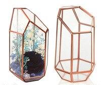 Quartz Shape Plant Glass Terrariums Rose Gold Soldered Glass Planter Containers Garden Terrariums For Plants Succulents