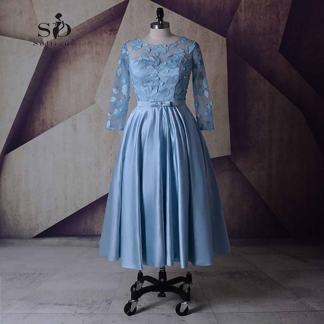 SoDigne Party Dress Sky Blue Short Wedding Dresses Tea Length Cheap Short A line Satin Dresses Long Sleeve ridal Gown-in Wedding Dresses from Weddings ...
