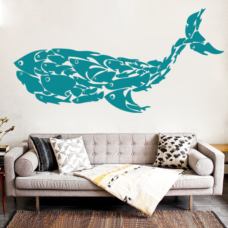 G5001 Unique Whale Fish Vinyl Wall Decal Fish Wall Sticker Art Poster Paper Classics Mural Living