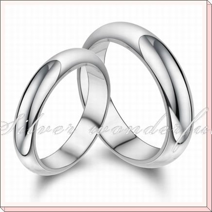 No Stone Pure 925 Silver Simple Circle Shaped Wedding Ring For Men And Women Wr085w