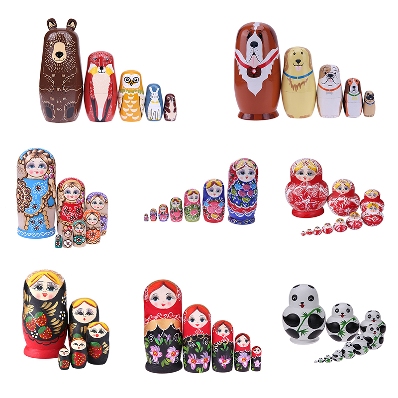 27 Styles Nesting Wooden Doll Toys Unpainted DIY Embryos Russian Nesting Toy Matryoshka Dolls Kids Learning Painting Toys