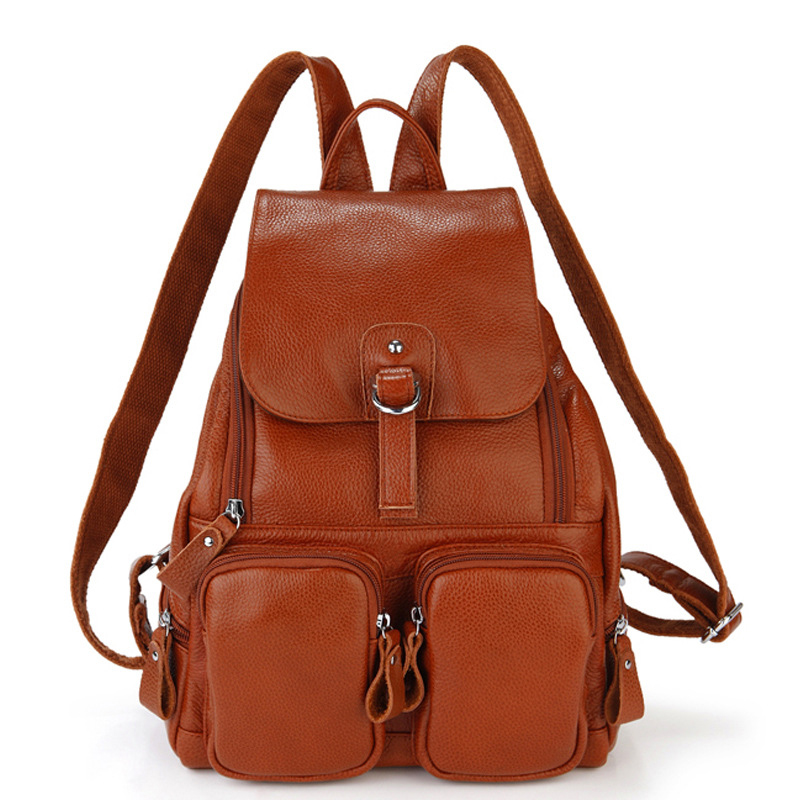 Preppy style fashion women school backpack made by genuine leather travel shoulder bags for women cowhide female bag hot sale women s backpack the oil wax of cowhide leather backpack women casual gentlewoman small bags genuine leather school bag