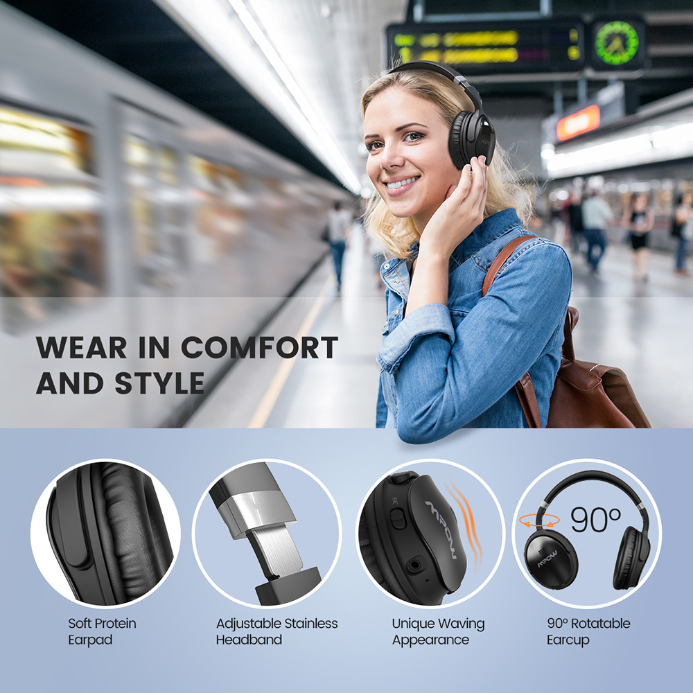 Image 2 - 2 Gen 2nd Mpow H5 Noise Cancelling Bluetooth Headphones with Microphone Over Ear Wireless Headset for HiFi Stereo&18Hrs Playtime-in Bluetooth Earphones & Headphones from Consumer Electronics
