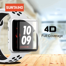 Suntaiho 4D Full Cover For apple watch 4 screen protector Soft Edge gel glass Film for Apple Watch 3 2 1 40 44 mm