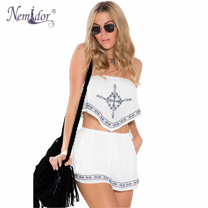5ad18220d2d Nemidor Summer Strapless Playsuit Tops and Shorts Embroidery 2 Piece  Outfits Jumpsuit For Women Casual Jumpsuits-in Rompers from Women s Clothing  on ...
