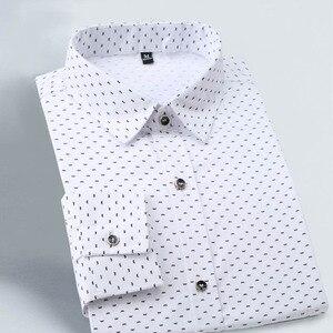 Image 5 - 2020 جديد الخريف موضة ماركة ملابس الرجال ملابس رجالي تلائم الرجل النحيف قميص طويل الأكمام الرجال البولكا نقطة قميص الرجال عادية الاجتماعية حجم كبير M 5XL